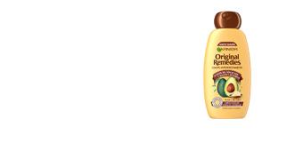 Anti frizz shampoo ORIGINAL REMEDIES champú aguacate y karité Garnier