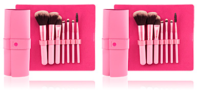 Brocha de maquillaje PROFESSIONAL PINK estuche-manta 7 brochas make up Beter
