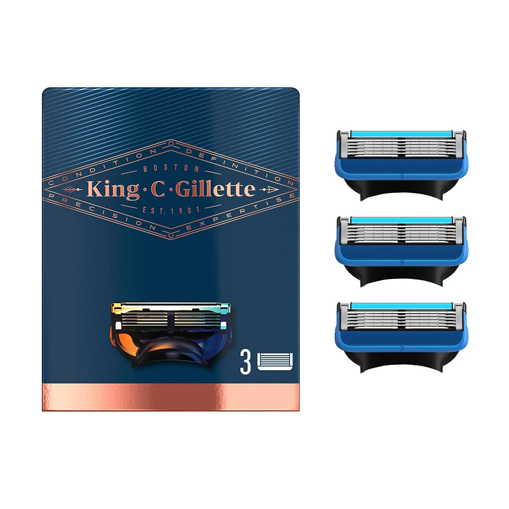 GILLETTE KING shave & edging razor blades x 3 cartridges