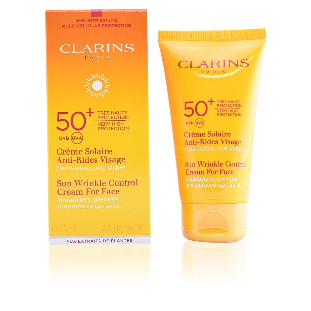 clarins sun cr me solaire anti rides visage spf50 en perfumes club. Black Bedroom Furniture Sets. Home Design Ideas
