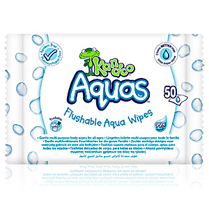 Lingettes humides KANDOO AQUAS flushable aqua wipes Dodot