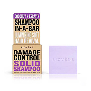 Shampoo for shiny hair COCONUT&KERATIN DAMAGE CONTROL solid shampoo bar Biovene