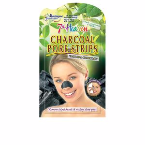 Mascarilla Facial - Tratamiento Acné, Poros y puntos negros CHARCOAL pore strips 7th Heaven