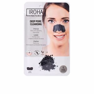 Traitement de l'acné, des pores et des points noirs DETOX CHARCOAL BLACK nose strips Iroha